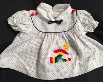 Vintage 1980's Size 0-3 months Cotton and Poly Blend Rainbow Sunshine Blue Polka-Dot Dress
