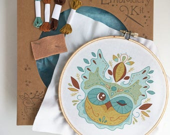 Owl Leaves DIY Hand Embroidery Kit Sampler in the Hoop art embroidery pattern designs