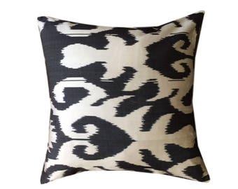 Black Ikat Cushion Pillow Cover, 45 x 45 cm