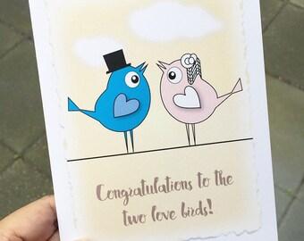 Wedding Congratulations Card. Congratulations To The Two Love Birds. Wedding Congrats Card. Wedding Card. Congrats Wedding Couple Card.