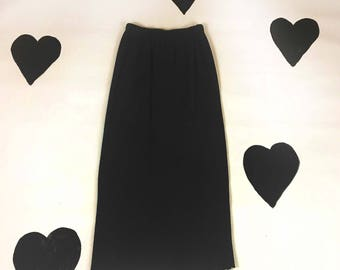 90's gray thermal wavy hem long straight skirt 1990's minimal charcoal textured cotton waffle knit / Kate Moss / midi pencil skirt / S XS 4