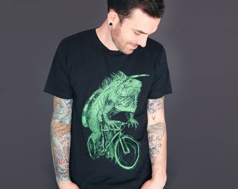 iguana on a bicycle t-shirt