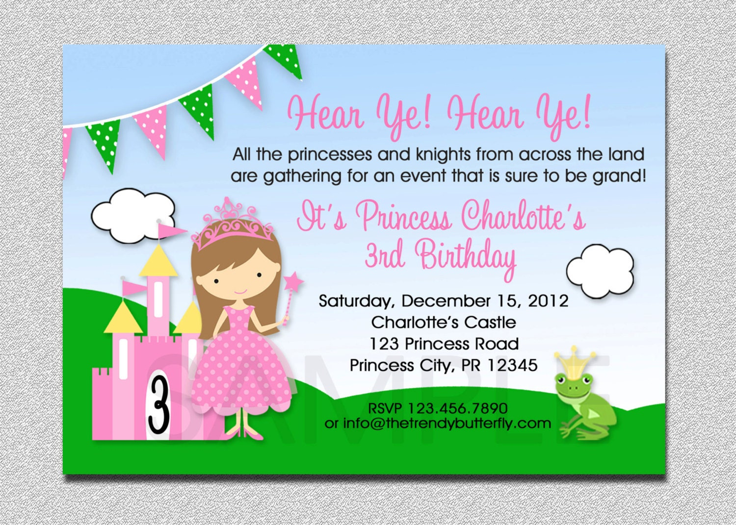 printable princess party invitations