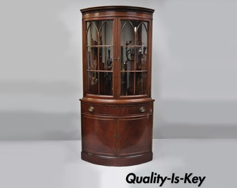 Antique Mahogany Bow Front Glass Corner China Cabinet Demilune Curio By  Finch