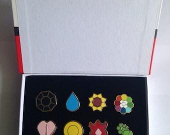Pokemon Kanto Indigo League Set of 8 Badges in Display Box