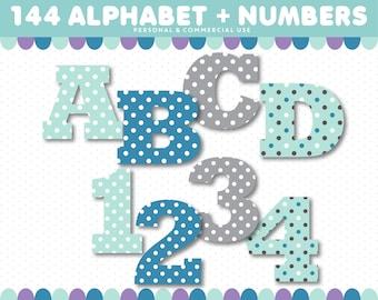 Alphabet Clipart, Blue Turquoise Grey Letter Clipart, Digital Letters, Number Clipart, Digital Alphabet, ABC Clipart, Font Clipart, AL-85