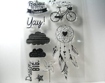 Dream Catcher Clear Stamp Bike Stamp Cloud Stamp Pinwheel Text
