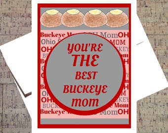Funny Mothers Day Card, Ohio State Card, Funny Mom Card, Buckeye Card, Mom Card, Happy Mothers Day, OSU Card, Scarlet And Gray