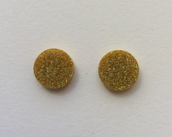 Large gold holographic glitter Acrylic / perspex laser cut earrings round circle studs
