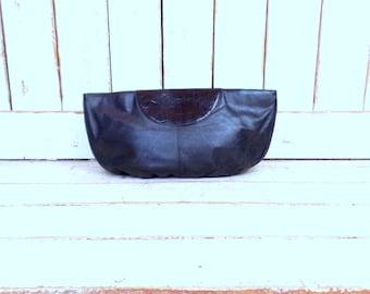 Vintage large oversized black leather clutch purse/large black leather handbag