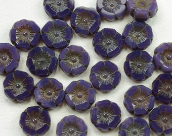 Hibiscus Flowers 12mm Purple Opaline Picasso Czech Glass Beads - 12