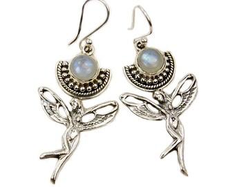 Angelic Rainbow Moonstone Earrings & Sterling Silver Dangle Earrings AF380 The Silver Plaza