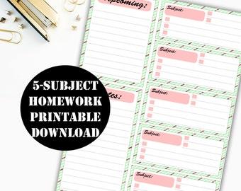 Homework Printable Digital Download // Erin Condren Printable / Planner Instant Download / Planner Insert Digital Download 00054