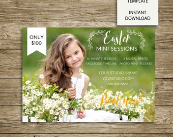 Floral Easter Mini Session Marketing Board - 7x5 Photoshop Template - INSTANT DOWNLOAD