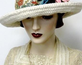ON SALE/ Organic Cotton Crochet Breton Hat/Cream