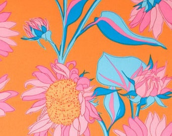 Sole Sunflower Orange And Pink Floral Fabric by Valori Wells for Free Spirit Fabrics,  Cotton Fabric By The Yard