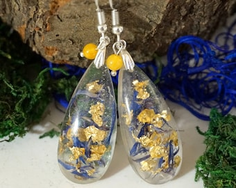 Statement jewelry Blue jewelry Blue and gold earrings Nature jewelry Real flower earrings Long drop earrings mother gift
