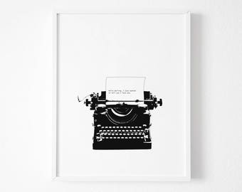 Vintage Typewriter Print, Modern poster, Modern Minimalist Black and white print, Modern Print, Black and White Decor, Modern Minimalist