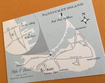 Nantucket Island custom wedding map, digital file, destination wedding, wedding invitation set, island, hand drawn, illustrated