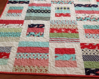 Baby, Crib or Lap Quilt in Red, Aqua, green and Navy blue Daysail fabrics Bonnie and Camille A