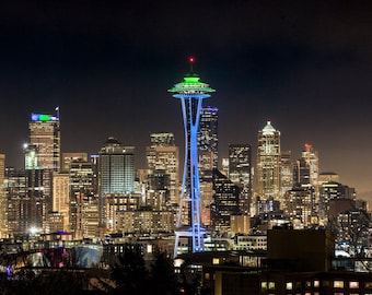 Seattle Skyline, Seahawks, Space Needle, Canvas Print, Metal Print, Landscape Wall Art Decor, Fine Art