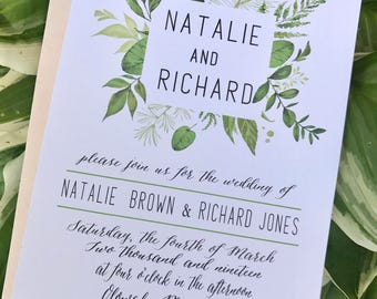 Greenery Wedding Invitation, Floral Wedding Invitations, Watercolor Wreath Invite