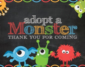 Adopt a Monster Certificate and Thank You card. Monster adoption, adoption certificate, Thank You