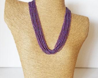 Hyacinth necklace, purple necklace, statement necklace,bridesmaid necklace, seed bead necklace,multistrand necklace,plum necklace,boho
