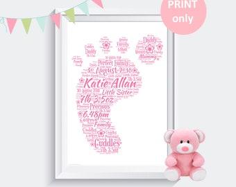 Personalised New Baby Christening Word Art Print Gift