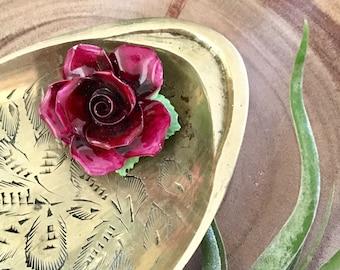 Vintage Porcelain Rose Brooch