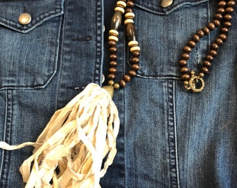 Coffee and Cream Tassel Necklace