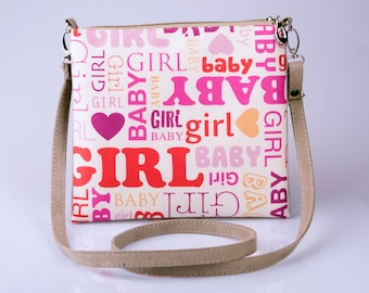 Baby Girl Clutch Bag  Print Clutch  Beige Purse   Fabric Purse  Clutch with Strap/Pocket