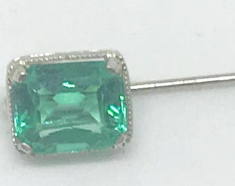 14k White Gold Stick Pin (Hat Pin) with Green Stone