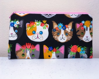 Kitty Cat Pencil Case Pouch Organizer Zippered Pouch