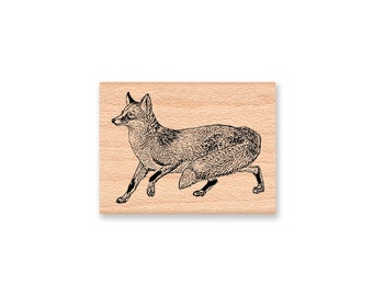 FOX RUBBER STAMP~two sizes available~large or small~wood mounted rubber stamp by Mountainside Crafts (21-04SM)(40-04LG)