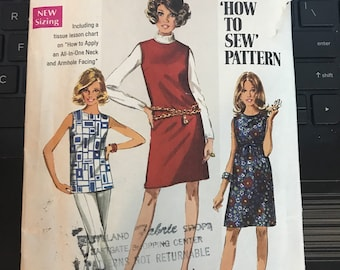 Vintage 60s Simplicity 8297 Dress or Tunic Pattern-Size 14 (36-27-38)