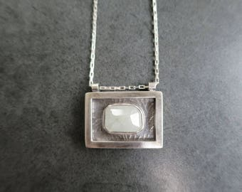 Grey Sapphire Necklace, Square Sapphire Pendant, Stamped Necklace, One of a kind Necklace