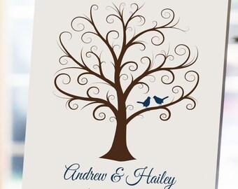 Wedding Fingerprint Tree - 16x20 - Thumbprint Wedding Tree - NB - Wedding Guest Book, Guestbook