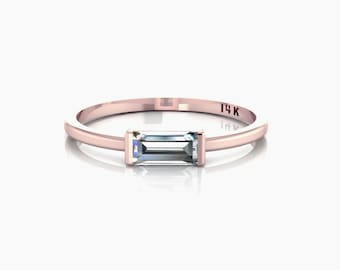 Tiny Horizontal Baguette Ring Solid 14k Rose Gold Sideways Baguette Crystal CZ Jewelry