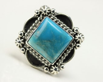 Native American Indian Jewelry Handmade Sterling Silver Turquoise Ring Size 6