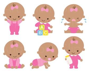 Black Baby Girl Clipart Black Baby Girl Clip Art African American Baby Girl Brown Skin Baby Girl Cartoon Baby Girl Shower Clipart