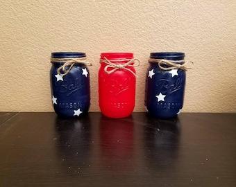 Fourth of July Mason Jars - 4th of July Mason Jars - Mason Jars - Fourth of July Decor - 4th of July Decor -  Patriotic Mason Jars