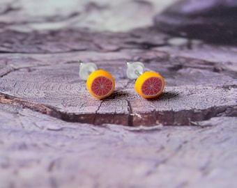 Grapefruit stud earrings. jewel