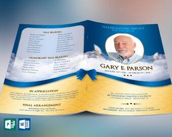 Blue Ribbon Funeral Program Publisher Word Template