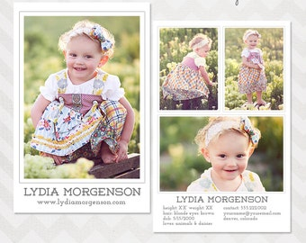 Model Comp Card Template for Professional Photographers - INSTANT DOWNLOAD