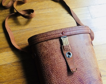 Vintage binocular case carrying bag leather made in Japan vintage travel binocular case hard sided leather bag purse carrying cross body bag