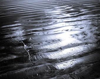 ocean sea water waves surf sand beach reflections sun dark tranquil quiet blue fine art photography