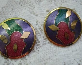 """Vintage Abstract Enamel Floral Post Earrings...Signed """"Lan""""...Cloisonne Earrings...Signed Lan...Copyright"""