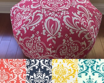 Personalized Pouf, Large Floor Pillow, Dorm Decor, Floor Pillow, Foot Stool, Floor Cushion, Dorm Pillow Damask