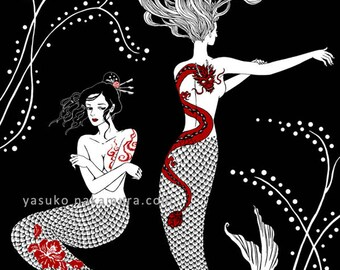 Tattoo Mermaids Original Art Print